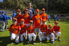 Oak View, California, USA, March 7, 2015, Ojai Valley Little League Field,youth Baseball, Spring, team portrait Royalty Free Stock Photo