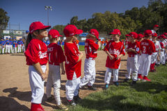 Oak View, California, USA, March 7, 2015, Ojai Valley Little League Field,youth Baseball, Spring, Tee-Ball Division players Royalty Free Stock Photography
