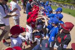 Oak View, California, USA, March 7, 2015, Ojai Valley Little League Field,youth  Baseball, Spring welcoming Tee-Ball Division Stock Image