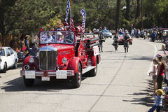 Oak View, California, USA, May 24, 2015, antique fire engine leads Memorial Day Parade Royalty Free Stock Images