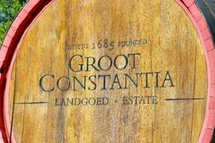 Oak wine barrel of Groot Constantia Landgoed estate Royalty Free Stock Photo