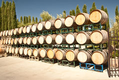 Oak Wine Barrels. At a California winery royalty free stock image