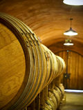 Oak wine barrels. In cellar Stock Images