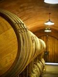 Oak wine barrels stock images