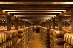 Oak Wine Barrels, La Rioja. Lines of Rioja oak wine barrels in a Logrono Bodega, La Rioja, Northern Spain stock photos