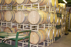 Oak Wine Barrels in a Rack Stock Photos