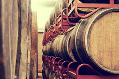 Oak  wine barrels in winery Royalty Free Stock Image