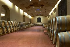 Oak Wine Vats, Maipo Valley, Chile stock photos