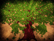 Oak With Green Leaves On Grunge Background Royalty Free Stock Photos