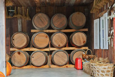 Oak wood barrel tank stacked in winery house Stock Image