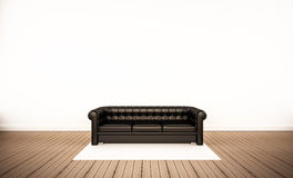 Oak wood floor and white wall, with black leather sofa, 3d rendered Stock Photo