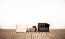 Oak wood floor and white wall, with contrast black and white armchair, 3d rendered Royalty Free Stock Photo
