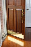 Oak Wood Front Entrance Door to Home Residence Ope Royalty Free Stock Photo