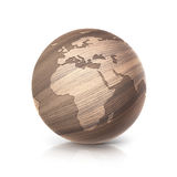 Oak wood globe 3D illustration europe and africa map Stock Photos
