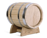 Oak wooden barrel on stands Royalty Free Stock Photo