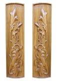 Oak wooden floral pattern decorative panels Stock Photo