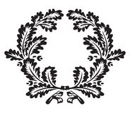 Oak wreath. Monochrome oak wreath, vector illustration Stock Images