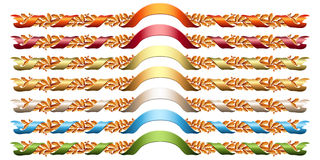 Oak wreathes with colorful ribbons. Stock Images