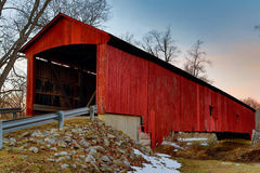 Oakalla Covered Bridge Midwinter at Sundown Stock Photos