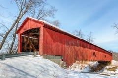 Oakalla Covered Bridge and Snow Stock Photography