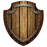 Oaken shield of the warrior with the metal studs Stock Images