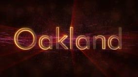 Oakland - animação dando laços brilhante do texto do nome da cidade ilustração royalty free
