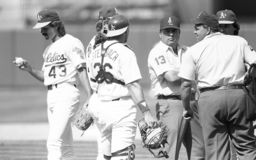 Oakland Athletics Closer Dennis Eckersley. Image taken from a b&w negative stock images
