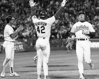 Oakland Athletics Dave Henderson e Mark McGwire fotografia de stock