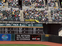Oakland Athletics fans hang sign protesting owners Royalty Free Stock Photo