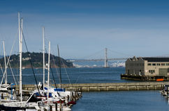 Oakland Bay Bridge as seen from Fisherman's Wharf, California Stock Photography