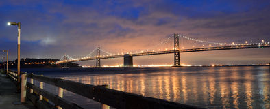 Oakland Bay Bridge lights in dusk in San Francisco, California Stock Photography
