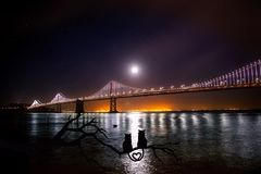 Oakland Bay Bridge at night Royalty Free Stock Photography