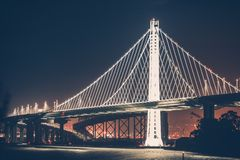 Oakland Bay Bridge. During Night Hours. Oakland Bridge Illumination Royalty Free Stock Photo