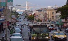 Oakland Bay Bridge San Francisco as seen from Chinatown Stock Image