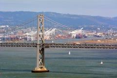 Oakland Bay Bridge San with Francisco harbour, California Stock Image