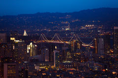 Oakland Bay Bridge in San Francisco at night. Oakland Bay Bridge in San Francisco during the night over city downtown Royalty Free Stock Images