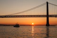 Oakland Bay Bridge during the sunrise, San Francisco, California Stock Image