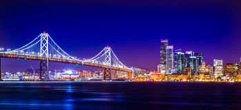 Oakland bay bridge views near san francisco california in the ev Royalty Free Stock Photos