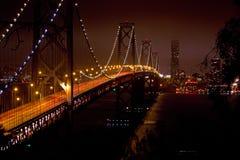 Oakland Bay Into San Francisco At Night. The Oakland Bay Bridge heading into San Francisco at night Stock Images