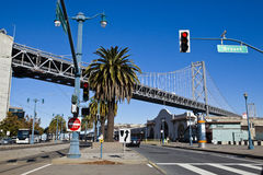 Oakland bridge, san francisco, california, united states. Oakland bridge, palm tree and postlamp, san francisco, california, united states Royalty Free Stock Photography