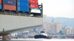 Cargo Ship HAMBURG BRIDGE departing the Port of Oakland Royalty Free Stock Photos