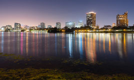 Oakland California Night Sky Downtown City Skyline Lake Merritt Royalty Free Stock Photography