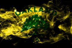 Oakland city smoke flag, California State, United States Of Amer. Ica stock illustration