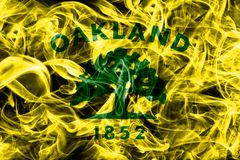 Oakland city smoke flag, California State, United States Of Amer. Ica Royalty Free Stock Photo