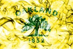 Oakland city smoke flag, California State, United States Of America.  Stock Photo