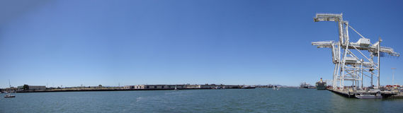 Oakland Harbor seen from Jack London Square Royalty Free Stock Image