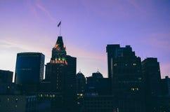 Oakland Kalifornien på solnedgången Arkivbilder