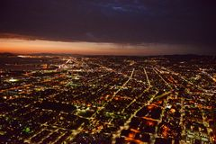 Oakland på natten Royaltyfri Fotografi