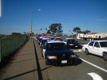 Oakland Police Funeral. Police officers from around the world gather for Oakland police officer funerals Stock Images