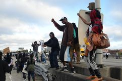 Oakland Protest. Protesters in Oakland California protesting the Trayvon Martin closing down Interstate 880 Stock Photo